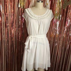 White Button Collar Dress